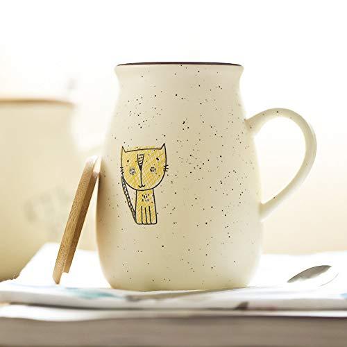 SHUIBEIHHY 500ml Creative Kitten Mug,Ceramic Tea Cups Mugs with lid Spoon,Unique Cartoon Couple Coffee Mugs Milk Cup Wholesale