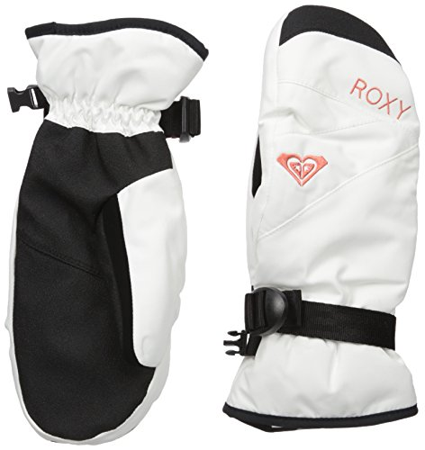 Roxy Snow Junior's Jetty Solid Snow Mittens, Bright White, L