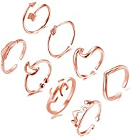 8PCS Open Toe Rings Set,Adjustable Wave Arrow Knot Band Feather Various Type Kunckle Thumb Finger Toe Rings fo