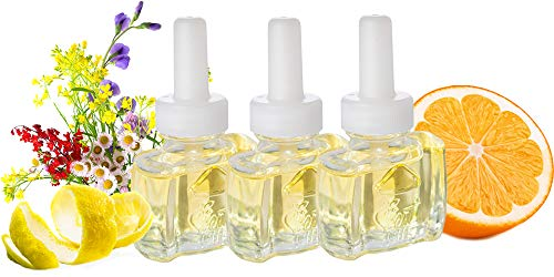 (3 Pack) 100% Natural Citrus & Wildflower Plug in Refill fits AIr Wick Scented Oil Warmers