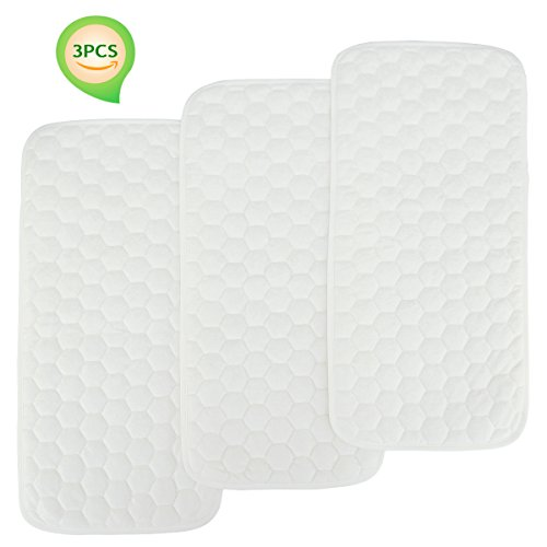 Bamboo Quilted Thicker Longer Waterproof Changing Pad Liners for babies 3 Count (white gourd pattern) by BlueSnail