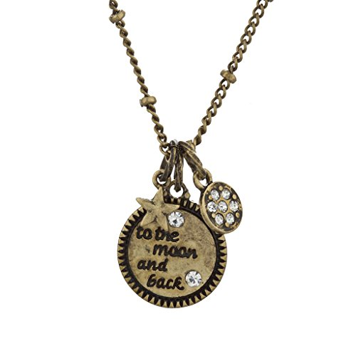Lux Accessories Boho Burnish Goldtone to The Moon and Back Celestial Charm Necklace (Stevie Nicks Moon Necklace)