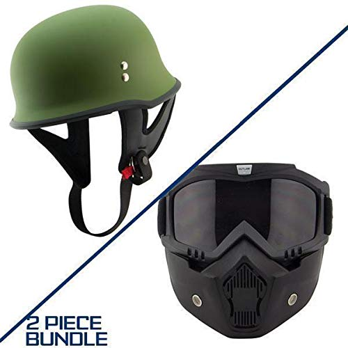 Outlaw T-75 Military German Style Flat Green Half Helmet with Outlaw 50 Nemesi - Large w/ 50 Outlaw Mask