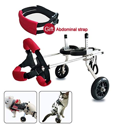 Dog Pet Wheelchair Best FriendDog Wheelchair Dog Mobility Harness,Rear Support Wheelchair, Adjustable Stainless Steel Cart Pet/Cat Dog Wheelchair Hind Leg Rehabilitation for Handicapped Dog, 2-Wheel