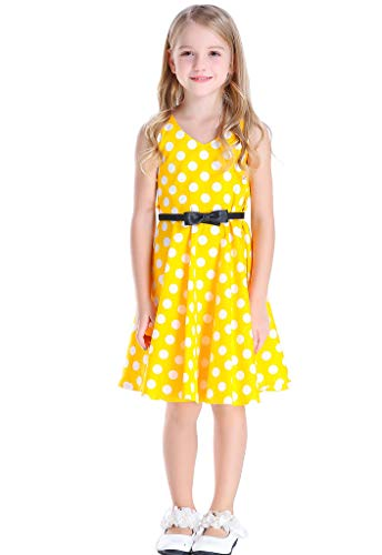 Happy Rose Girl's Dress 1950s Retro Party Dots Yellow 10 ()