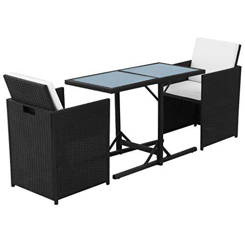 Neolifu Outdoor Patio Dining Set Poly Rattan Black Garden Furniture