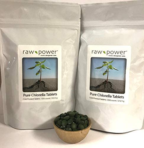 Chlorella Tablets 2500 Count, 625g , Cold-Pressed, 100 raw and Pure, from Raw Power Organics