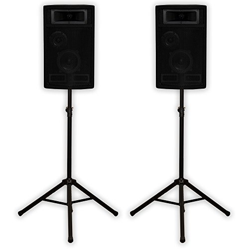 Acoustic Audio PA-500X Passive 800 Watt 3-Way Speaker Pair DJ PA Speakers and Stands