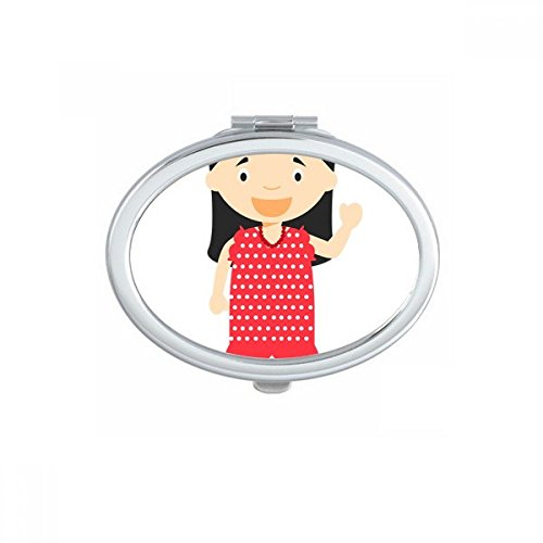 DIYthinker Flower Red Dress Spain Cartoon Oval Compact Makeup Pocket Mirror Portable Cute Small Hand Mirrors Gift by DIYthinker