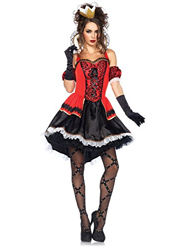 Red Queen Of Hearts Costume (Leg Avenue Women's Royally Sexy Queen Costume, Red/Black, Small)
