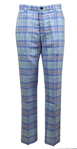 Brooks Brothers Mens Clark Plaid Trousers Pant Blue (35/30)