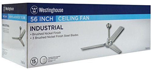 Westinghouse 7861400 Industrial 56-Inch Three-Blade Ceiling Fan with Ball Hanger Installation System, Brushed Nickel