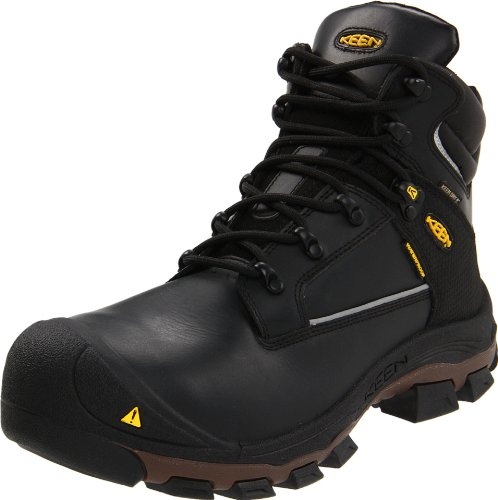 "KEEN Utility Men's Portland Puncture Resistant 6"" Aluminum Toe Work Boot,Black,7 2E US"