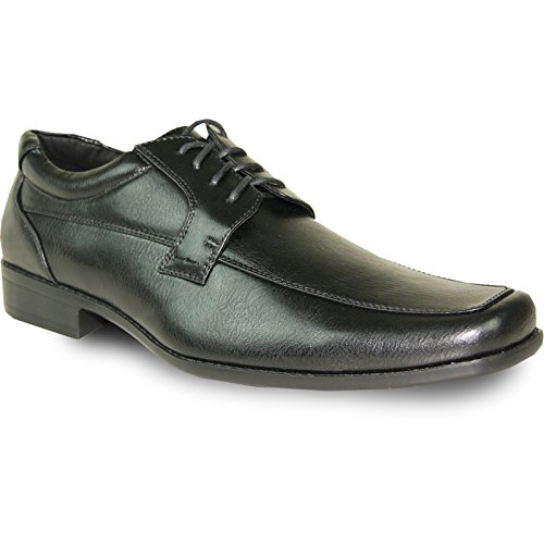 Monaco Moc (BRAVO Men Dress Shoe MONACO-4 Classic Oxford with Square Moc Toe and Leather Lining Black 10.5M)