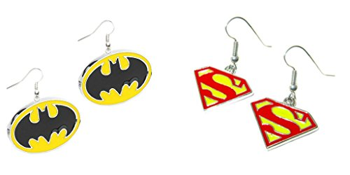DC+Comics Products : DC Comics Batman and Superman Logos (2-Pair Assortment) Cute Girl Dangle Earrings By Athena
