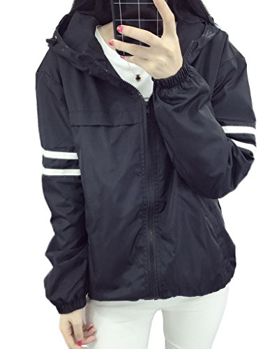 Minetom Carta Patrón Mujer Chaqueta Coat Jacket Cazadora Bombardero Mangas Largas Frontal Cremallera Primavera Otoño Tops Negro