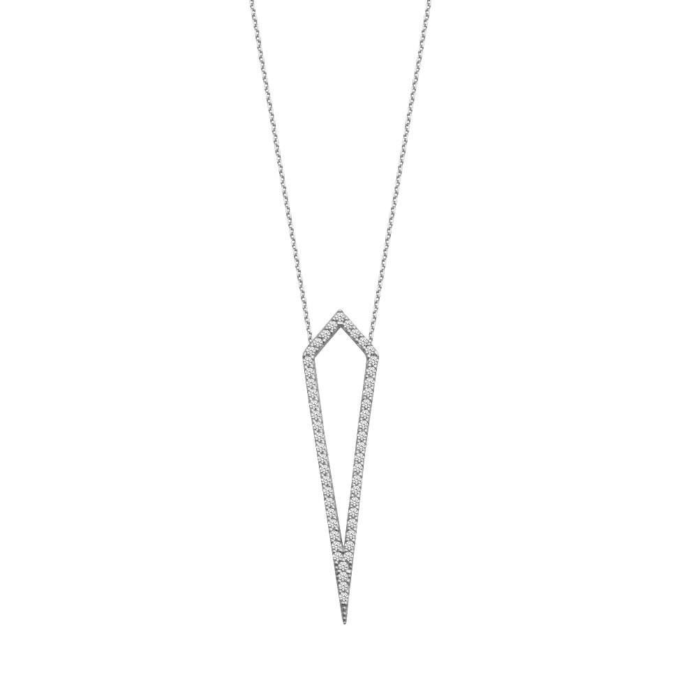 Sterling Silver Cubic Zirconia Geometric Adjustable Necklace
