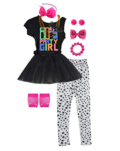 80s Party Girls Costume Outfit Accessories Neon Headband Skirt Leggings Gloves (7/8, ()