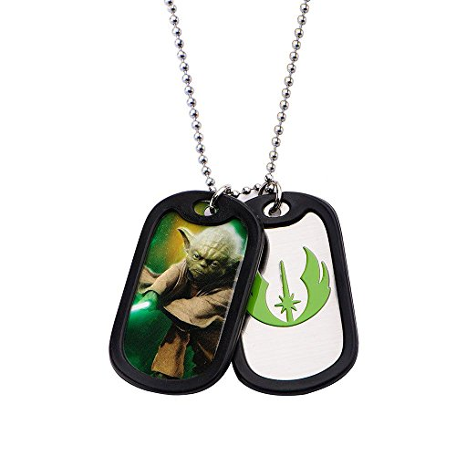 Yoda Double Dog Tag Pendant Stainless Steel Star Wars -