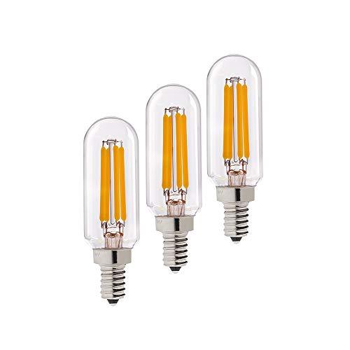 Century Light - 4W Edison LED Filament Tubular Bulb, 2700K Warm White 400LM, Candelabra (E12) Base Light Bulb,T6 (T25) Short Tube Shape, 40 Watt Equivalent, Dimmable, UL-Listed (3-Pack)