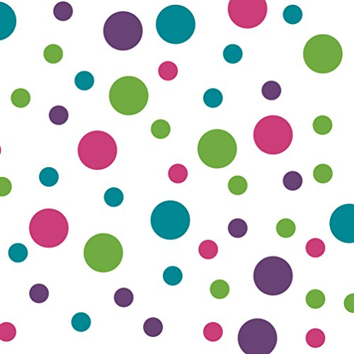 Set of 60 Circles Polka Dots Vinyl Wall Decals (Purple/Turquoise / Lime Green/Hot Pink)