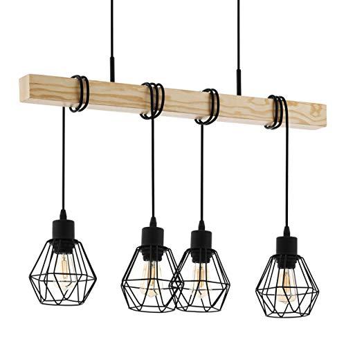 Lámpara colgante EGLO Townshend 5, 4 focos, vintage, diseño industrial, retro, de acero y madera, color: negro, marrón, casquillo: E27