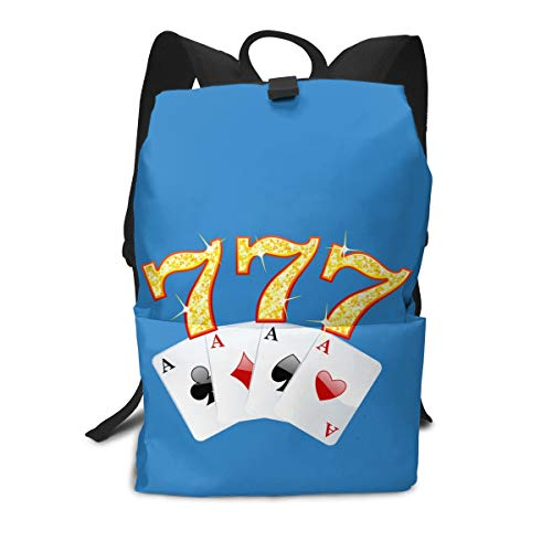 (Travel Backpack Business Daypack School Bag Poker 777 Ace Large Compartment College Computer Bag Casual Rucksack For Women Men Hiking Camping Outdoor)