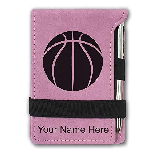 Mini Notepad, Basketball Ball, Personalized Engraving Included (Pink)