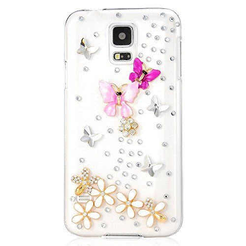 Samsung Galaxy S4 mini Case, Sense-TE Glamour Crystal 3D Handmade Sparkle Glitter Butterfly Flowers Dance Gem Rhinestone Cover with Retro Bowknot Anti Dust Plug - Peach&Pink