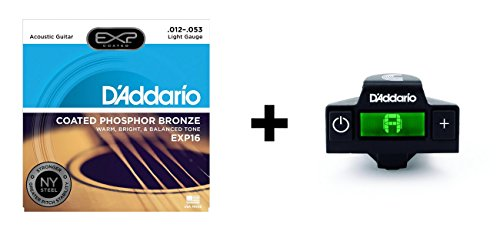 D'Addario EXP16 Coated Phosphor Bronze Acoustic Guitar Strings, Light & NS Micro Soundhole Tuner (Daddario Exp16 Acoustic Guitar Strings)