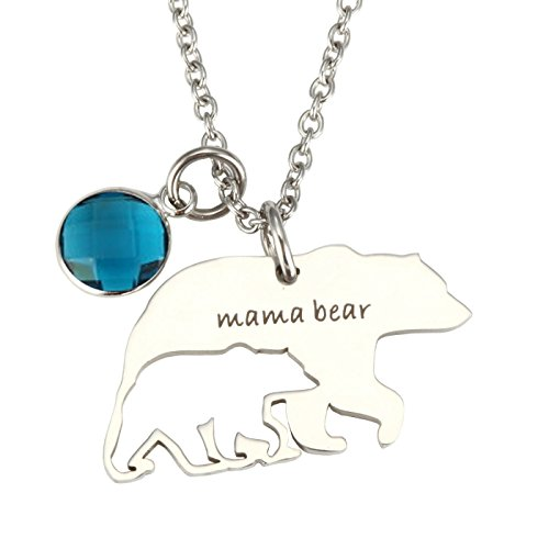 T-PERFECT LIFE Love Gift To Mama Birthstone Hollow-out Mama Bear Pendant Necklace (Hollow Bear)