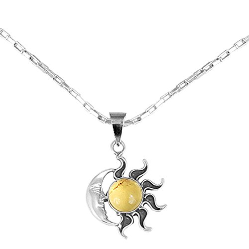 .925 Sterling Silver Sun and Moon Pendant Necklace, 18