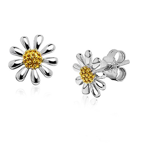 Paul Wright 925 Sterling Silver Daisy Earrings, 10mm Daisies with 18K Gold Plated - Daisy Earrings Floral