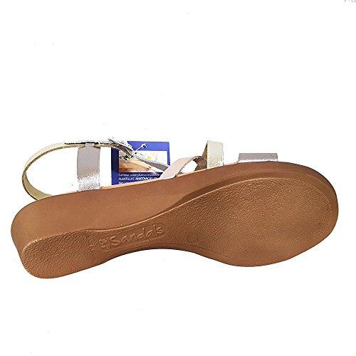 Sandalia plata multicolor. Tiras empeine. Talla 40