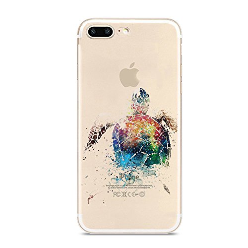 iPhone 7 Plus Case,Novelty Animal Pattern on Soft TPU Silicone Protective Skin Ultra Slim & Clear with Unique Art Design Gift Bumper Back Cover for iPhone 7 Plus 5.5 inch,colorful sea turtle