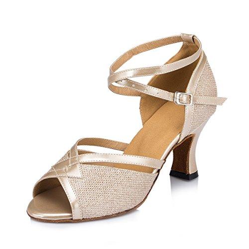 caa3921102 free shipping Miyoopark Women's Flared Heel Glitter Salsa Tango ...