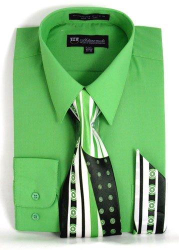 Milano Green - Milano Moda Men's Long Sleeve Dress Shirt With Matching Tie And Handkie SG21A-AppleGreen-16-16 1/2-36-37