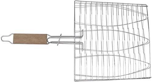 VR7 Panier de barbecue pliable en acier inoxydable pour poissons, légumes, crevettes avec poignée amovible, livré avec brosse à badigeonner et sac de rangement