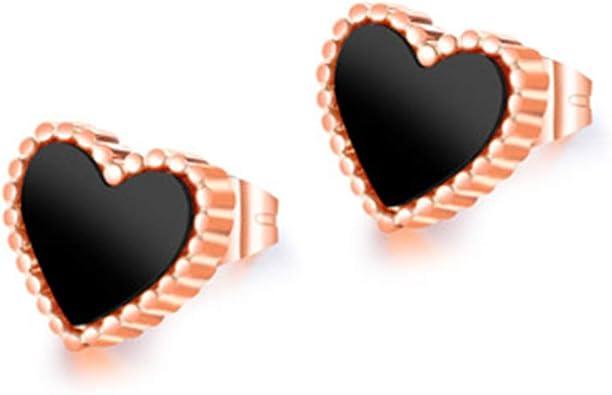 14K GOLD PLATED BLACK ONYX HEART SHAPE PIERCED EARRINGS