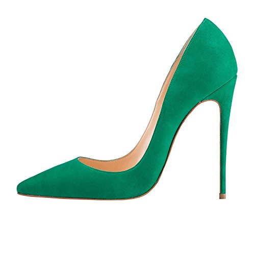 Suede Heels Size 12 FSJ Pointed Women Stilettos 4 Pumps Prom cm Toe US 15 Green Shoes High Sexy OBwEzwx