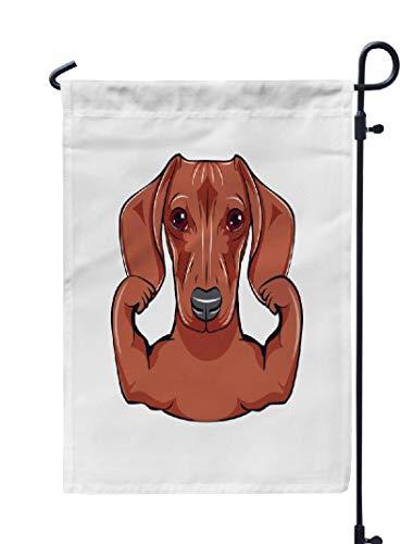 Soopat Dachshund Art Seasonal Flag, Dachshund Dog Athlete Sportsman Dog Portrait Dog Breed Weatherproof Double Stitched Outdoor Decorative Flags for Garden Yard 12''L x 18''W Welcome Garden Flag