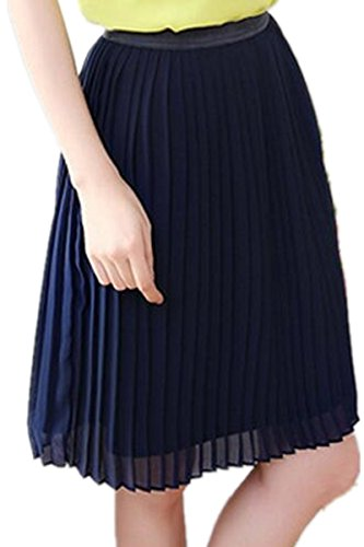 Season Show Women's Elastic Waist Chiffon Mini Pleated Skirt Blue S