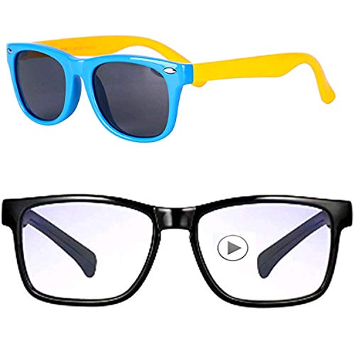 Baby Sunglasses Rubber Kids Polarized Sunglasses - FEIDU Fit Shades Glasses for Boys Girls toddler and Children Age 2-5 (2pack(clear+black), ()