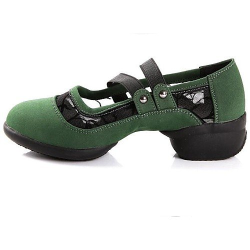 Flat T Women's Green Suede Sneakers Shoes Heel Q T Dance Green gHc00q