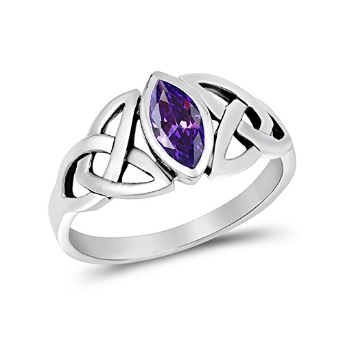 Blue Apple Co. Celtic Bezel Marquise Solitaire Ring Simulated Amethyst 925 Sterling Silver,Size-5
