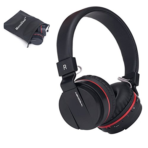 Active Noise Cancelling Wired/Wireless Bluetooth Headphones with Mic,Monodeal Foldable on the Ear Headset.Soft Memory-Protein Earmuffs,Hi-Fi Stereo Headset for PC/ Cell Phones/ TV