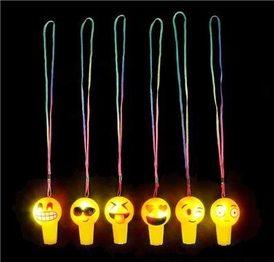 One Dozen Light Up Emoji Whistle Party Favors
