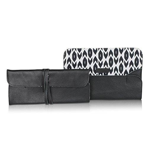 lt;0 Evening Casual Monkey for Brand Women or Fashion Leather Clutch Geo gt; gt; amp; Wrap Funky Fabric Black Bag lt;0 zZnRAd