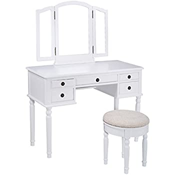 Amazon Com Bobkona F4074 St Croix Collection Vanity Set With Stool White Kitchen Amp Dining