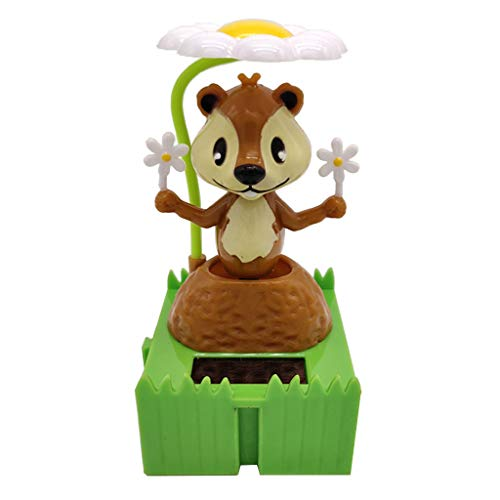 B Blesiya Solar Powered Bobbing Animal Cute Squirrel Solar Science Toy Home Desktop Decor Bobbleheads Animal Pet Model